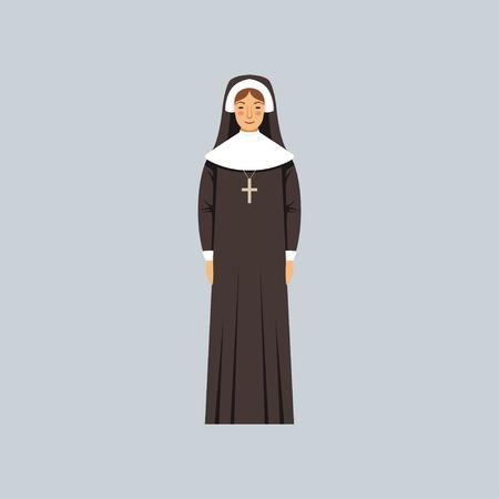 Catholic nun, representative of religious confession vector Illustration Illustration