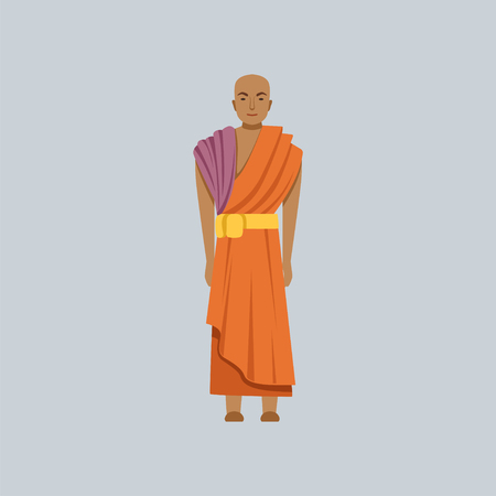 Buddhist monk, representative of religious confession vector Illustration