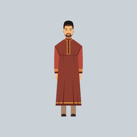 Muslim man in tradition costume, representative of religious confession vector Illustration
