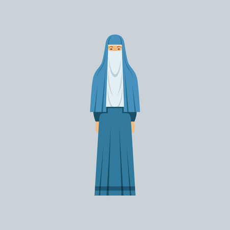 Muslim woman in traditional clothes vector Illustration