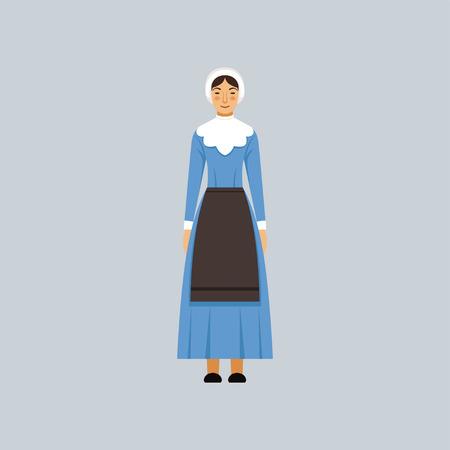 메노나이트 또는 amich 여자 전통 파란색 드레스, 종교적 자결 대표 벡터 일러스트 레이 션
