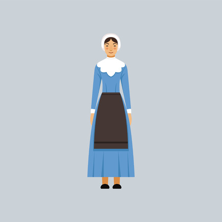 Mennonite or amich woman in traditional blue dress, representative of religious confession vector Illustration