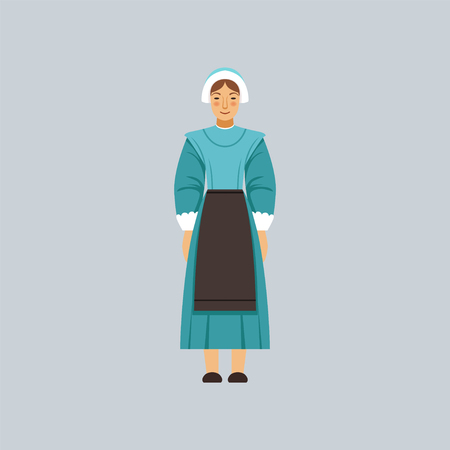 Mennonite or amich woman in traditional dress, representative of religious confession vector Illustration 向量圖像
