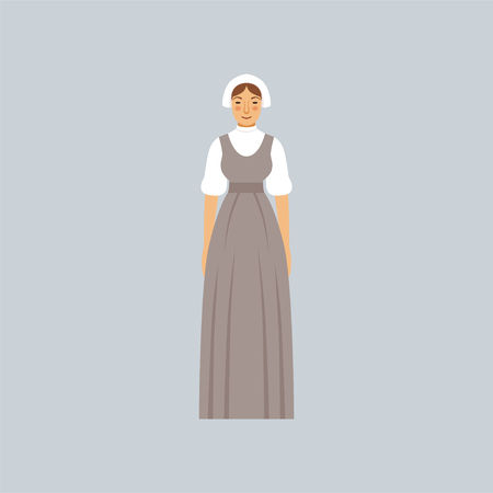 Mormon woman in traditional dress vector Illustration 일러스트