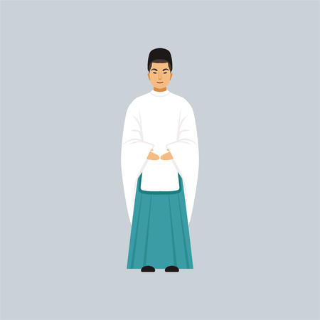 Male Shinto priest in traditional clothing, representative of religious confession vector Illustration