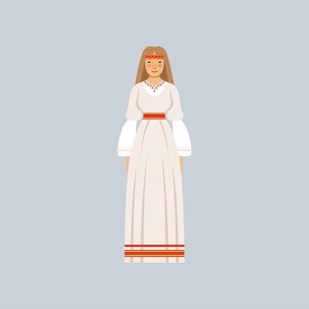전통적인 슬라브 또는 이교도 의상, 종교적 자만심의 대표 젊은 여자 벡터 일러스트 레이션 일러스트