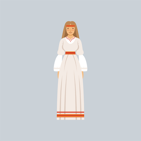 Young woman in traditional Slavic or pagan costume, representative of religious confession vector Illustration