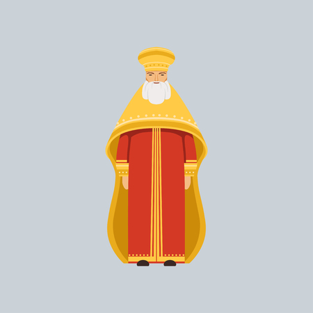 Orthodox Metropolitan in red soutane, representative of religious confession vector Illustration