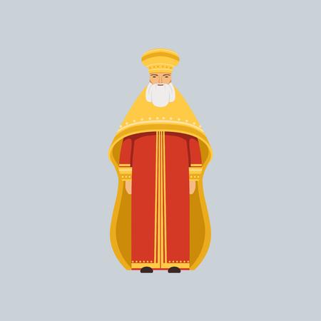 Orthodox Metropolitan in red soutane, representative of religious confession vector Illustration Stock Vector - 94529009