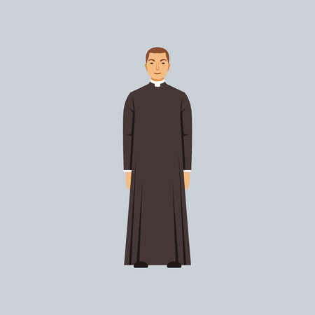 Catholic priest or pastor, representative of religious confession vector Illustration