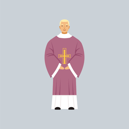 Vicar, Catholic representative of religious confession vector Illustration in a flat style Ilustracja