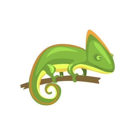 Groen kameleon, amfibie dierlijke cartoon vectorillustratie Stock Illustratie