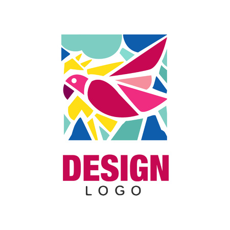 Creative logo design with pink tropical bird parrot . Abstract icon in rectangular shape. Design for business card, environmental placard or print. Colorful vector illustration isolated on white.