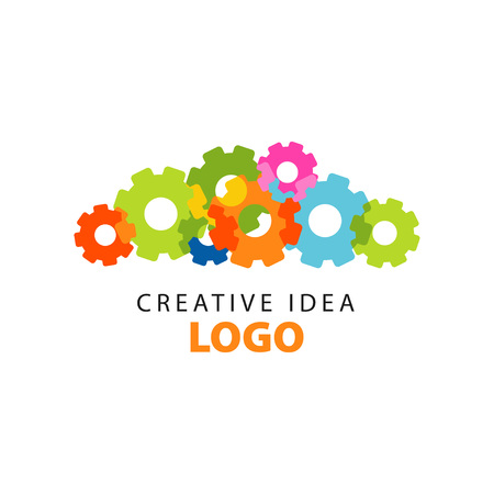 Creative idea icon design template with abstract colorful flat gears. Educational business, learning and developing center label. Power of thinking concept. Vector illustration isolated on white. 版權商用圖片 - 94377259
