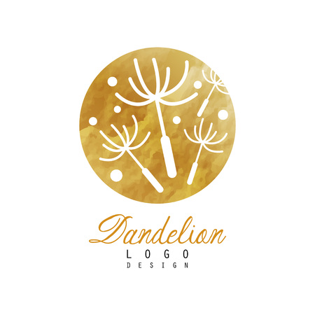 Creative logo design of dandelion with flying fluffy seeds. Organic product badge. Natural label with golden detailed texture. Emblem for herbal shop, spa center. Vector illustration isolated on white