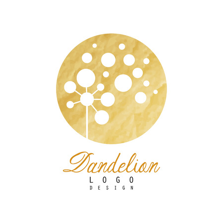 Beautiful abstract dandelion logo. Gentle golden texture. Organic product badge. Original design for advertising flyer of beauty salon or spa center.