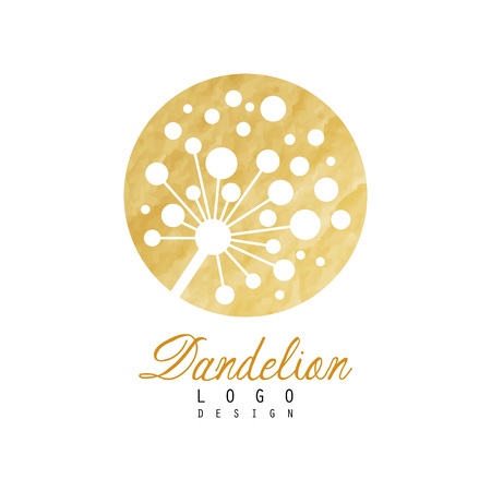 Abstract dandelion icon on rounded golden texture. Symbol of wild flower. Natural label. Medical herb. Vector illustration isolated on white. Design for promo flyer, banner or poster of beauty salon.