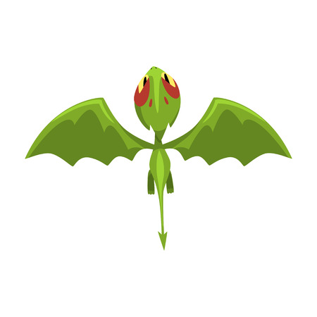 Funny baby dragon in flying action. Cartoon character of green fantastic mythical creature. Top view. Flat vector design for mobile game, kids poster or network sticker Ilustração