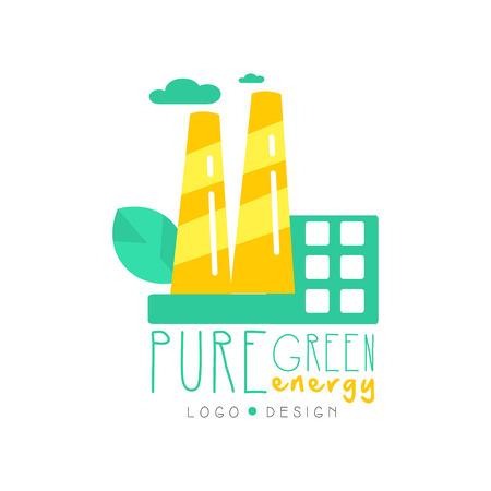 Emblème créatif, modèle de conception originale avec illustration vectorielle d'usine Eco Banque d'images - 94380263