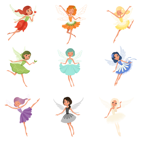 Colorful set of fairies in flying action. Little creatures with colorful hair and wings. Mythical fairy tale characters in cute dresses. Flat vector design.