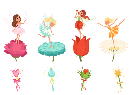 Set of little fairies hovering over beautiful flowers. Cartoon girls dressed in colorful dresses. Cute magical creatures with wings. Magic wands. Flat vector design. Иллюстрация