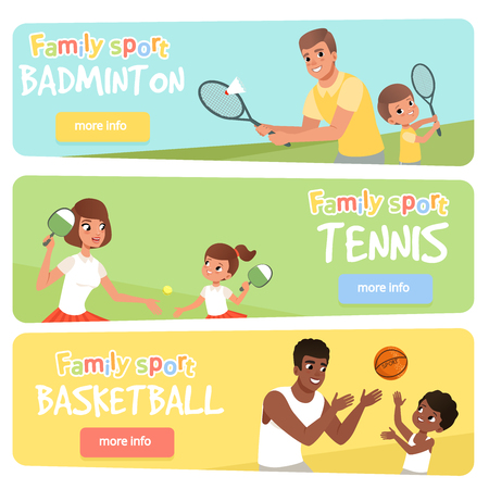 Set of 3 banners with sport parents and their children. Active lifestyle. Happy family playing badminton, tennis and basketball. Flat vector for web site, mobile app. Illustration