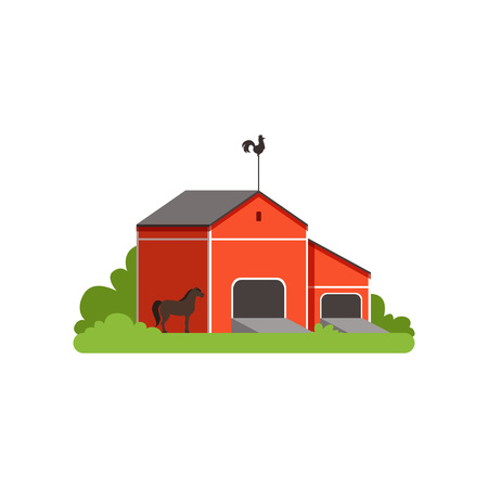 Red barn, rural building vector illustration