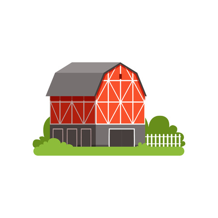 Red barn farm agricultural building, countryside life object vector Illustration on a white background