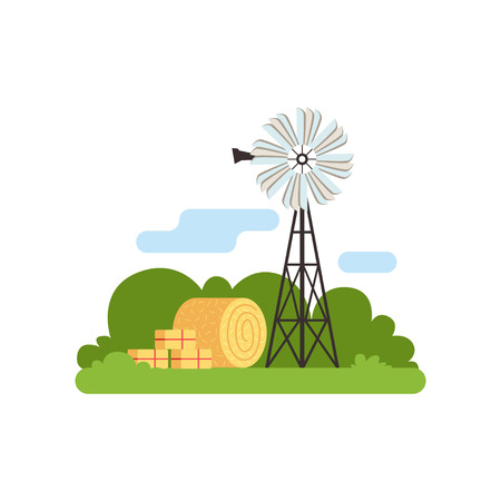 Old farm windmill vector Illustration on a white background