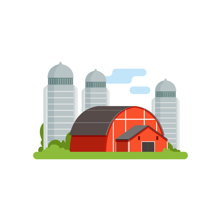 Agricultural silo towers and red barn, countryside life object vector Illustration.