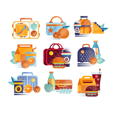 Vector set of icons with lunch boxes and bags with food and drinks. Hamburgers, sandwiches, cookies, juice, coffee, fruits. Lunchtime or breakfast concept. Cartoon flat illustration isolated on white.