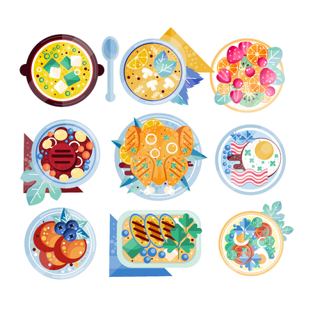 Set of colorful food icons in flat style. Plates with various dishes. Scrambled eggs with bacon, mushroom soup, chicken, beefsteak, fruits.