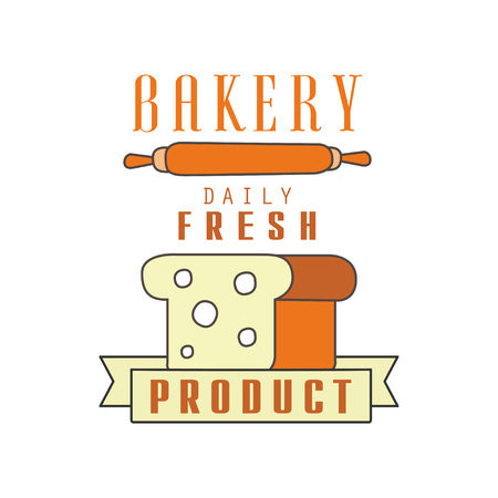Bakery, daily fresh product, bread shop badge retro food label design vector Illustration on a white background Ilustração