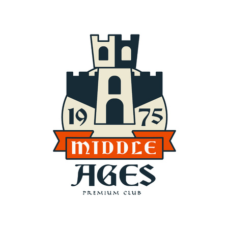 Middeleeuwen pictogram, premium club, 1975, vintage badge of label, heraldiek element vector illustratie op een witte achtergrond Stockfoto - 94382093
