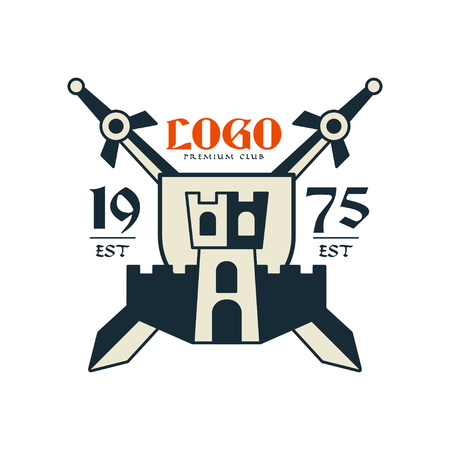 Icon premium club, est 1975 vintage badge or label, heraldry element vector illustration on a white background.