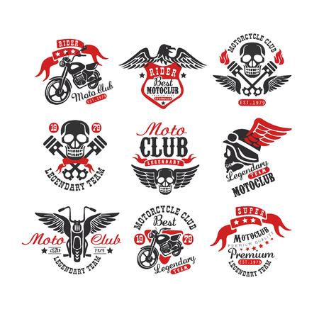 Collectie vintage motorfietsemblemen. Origineel monochroom label voor motorclub of reparatieservice. Typografie vectorontwerp voor badge, logo, t-shirt print of poster