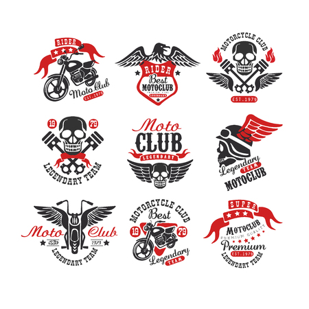 Collection of vintage motorcycle emblems. Original monochrome label for biker club or repair service. Typography vector design for badge, logo, t-shirt print or poster Illustration