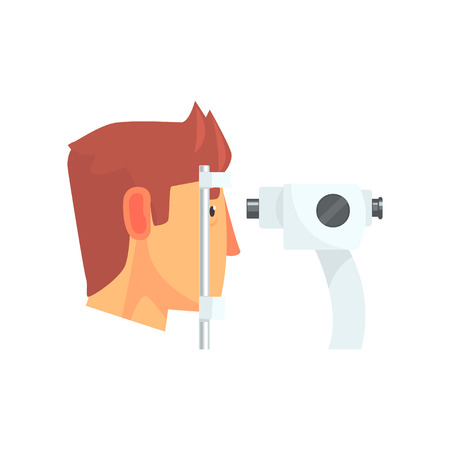 Male patient doing eye test in eyesight ophthalmological correction clinic cartoon vector Illustration Stock fotó - 94455757