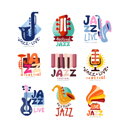 set for jazz festival or live concert. Musical event labels or emblems with guitar, saxophone, retro gramophone, trumpet.
