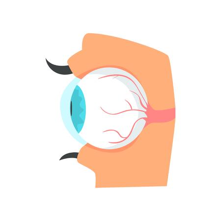 Eyeball, anatomy of human eye cartoon vector Illustration Ilustração