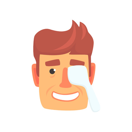 Man checking vision in an ophthalmologist with one eye closed cartoon vector Illustration on a white background  イラスト・ベクター素材