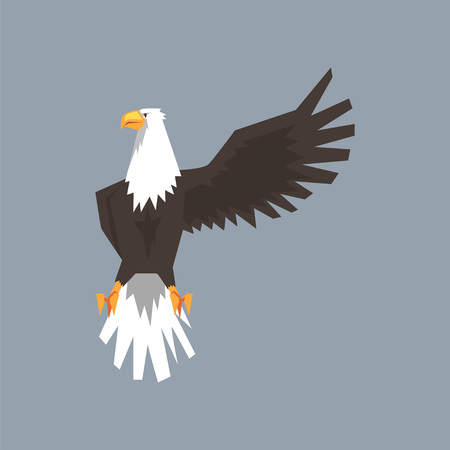 North American Bald Eagle character raising one wing, symbol of freedom and independence vector illustration.