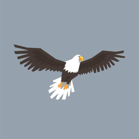 Noord-Amerikaanse Bald Eagle vliegen, symbool van vrijheid en onafhankelijkheid vectorillustratie