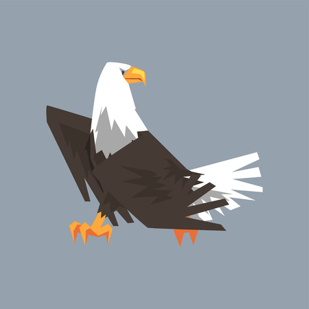 Majestic North American Bald Eagle character, symbol of freedom and independence vector illustration, cartoon style