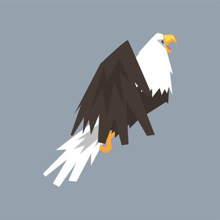 North American Bald Eagle character, symbol of USA vector illustration, cartoon style Illustration
