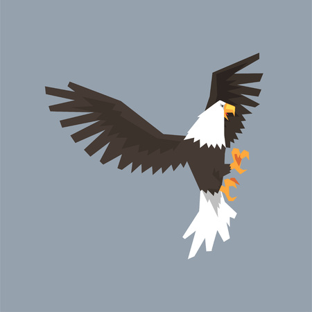 North American Bald Eagle character with outstretched wings, symbol of freedom and independence vector illustration