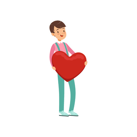 Happy teen boy holding red heart, Happy Valentines Day concept, love and relationships vector Illustration Illustration