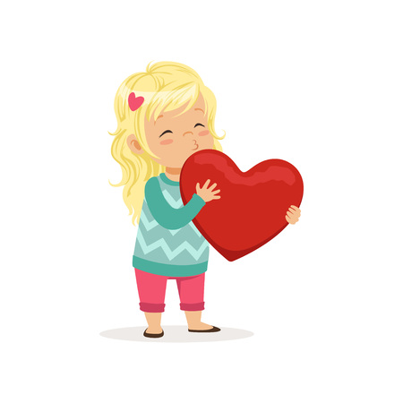 Lovely blonde little girl holding red heart, Happy Valentines Day concept, love and relationships vector Illustration