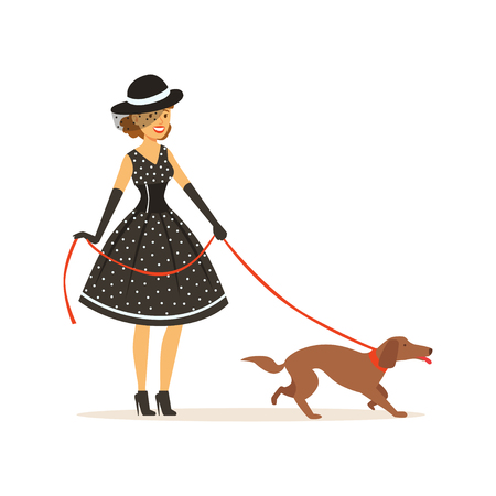 Beautiful young woman in a black polka dot dress and hat walking with her dog, girl dressed in retro style vector Illustration on a white background