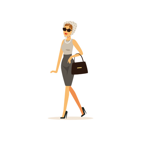 Beautiful elegant young woman dressed in retro style vector Illustration Illustration